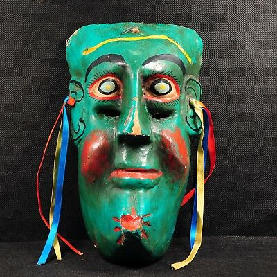 Vintage Mexican Folk Art – Decorative Carved Copal Wood Mask, with Ribbons