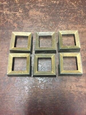 Lot of 6 Brass Tone Square Drawer Pulls #1