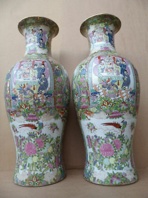 Pair Of Beautiful Large Chinese 20Th Century Canton Famille Rose Gold Gilt Vase