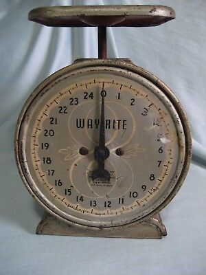 Vintage Antique WAY RITE Kitchen Scale 25 Lb Works Shabby Rustic 1920's?