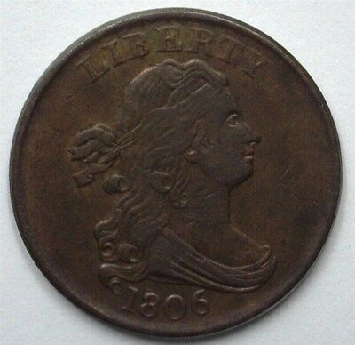 1806 Draped Bust Half Cent With Stems -Large 6- Uncirculated+  Rare!