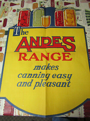 Rare 1930's Andes Stove & Range Co Advertising Sign Poster Original #3