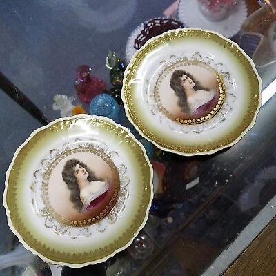 "SET of 2 Antique Bavaria Austria Elbogen Limoges Asti Lady Semi NUDE 6"" Plates!!"