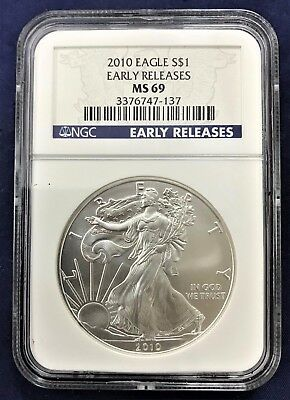 """2010 American Silver Eagle """"Early Releases"""" NGC MS69"""