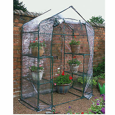 GARDEN COMPACT WALK In Greenhouse Frame Shelves Reinforced Cover