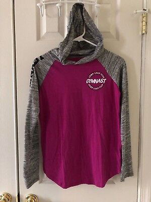 NWOT Justice GYMNAST Athletic Hooded T-shirt Gray Purple Sz 14