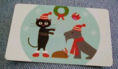 PETCO  2017 Gift Card Christmas, Dog and Cat and Bird Collectible Mint