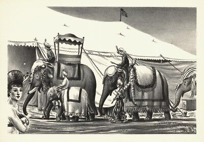 """Circus Elephants"" by Raymond L. Creekmore - Lithograph"