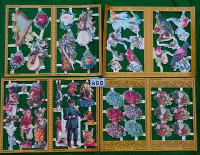 LV898 Mamelok Victorian Scraps Flowers Birds Costumes 4  sheets FREE UK shipping