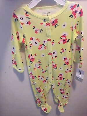 NEW- Carters Pajamas- 9M Footies featuring Red and White Flowers