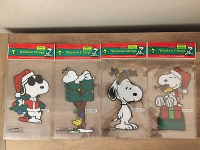 "Lot of 4 SNOOPY Santa 7"" PEANUTS  Christmas Window Clings Decorations Woodstock"