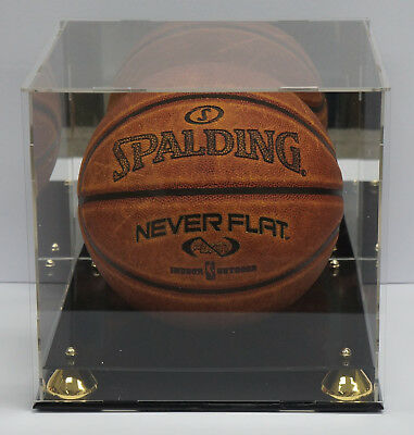 Deluxe Acrylic Basketball Display Case With Gold Risers Mirror Back Finish Nba