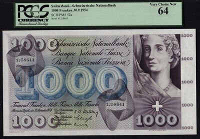 TT PK 52a 1954 SWITZERLAND 1000 FRANKEN PCGS 64 VERY CHOICE NEW