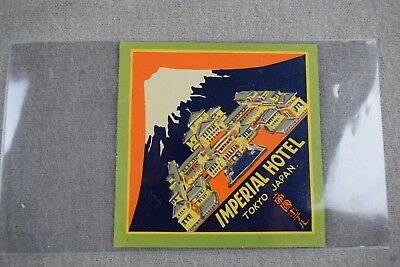 Hotel Luggage Label Imperial Hotel Tokyo 1930's Japan Floyd Wright