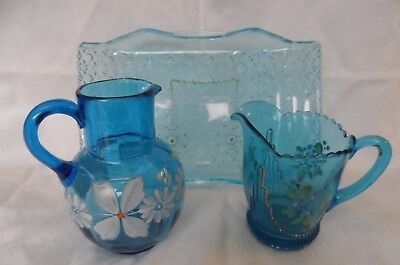 Antique EAPG & Blown Glass Turquoise Blue  Pitchers & Daisy Button Tray