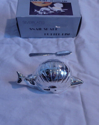 Silver Plated Snail Shaped Butter Dish W/Glass Insert & Knife in Original Box
