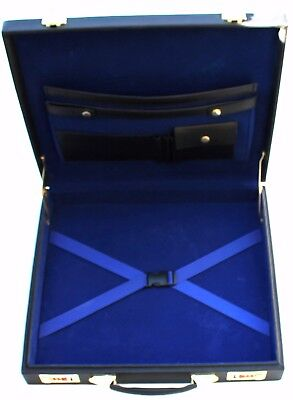 Freemason Masonic Regalia Apron Hard Case Blue Inside Briefcase