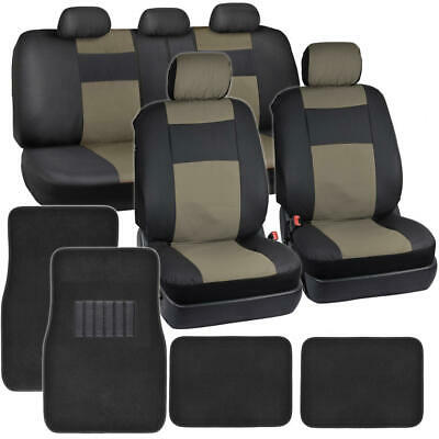 Black Beige Synthetic Leather Car Seat Covers 4pc Carpet Floor Mats Auto