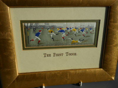 Vintage Stevengraph Series-The First Touch-Rugby Football-Silk Picture-Ltd Ed.3K