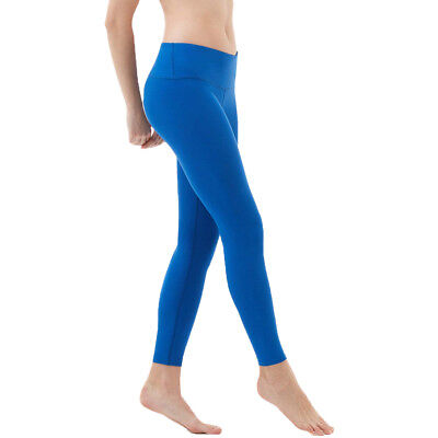 Tesla FYP41 Women's Mid-Waist Ultra-Stretch Yoga Pants - Solid Blue