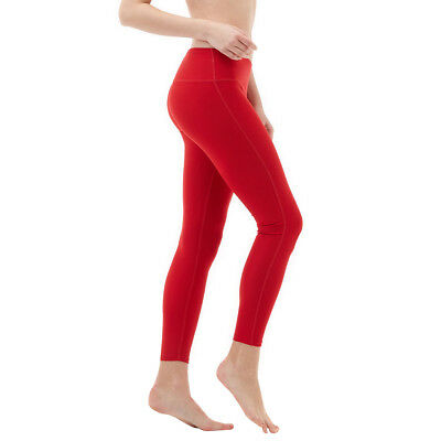 Tesla FYP41 Women's Mid-Waist Ultra-Stretch Yoga Pants - Solid Red