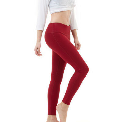 Tesla FYP41 Women's Mid-Waist Ultra-Stretch Yoga Pants - Solid Wine
