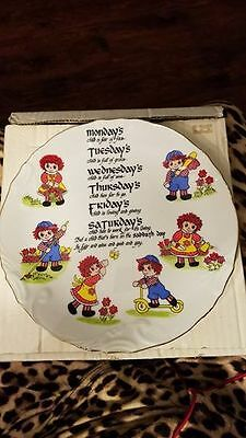 Vintage Raggedy Ann and Andy Plate Birth Days of the Week Albert E Price New