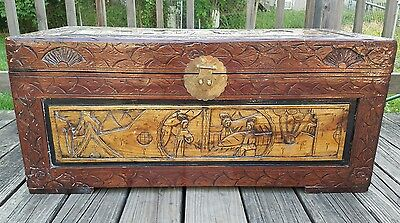 Beautiful Vintage Asian Hand Carved Camphor 2 Tone Solid Wood Trunk Chest