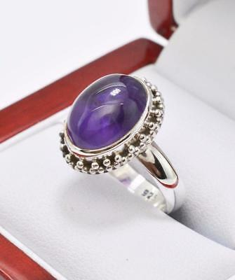 Art Deco Vintage Antique 3.00ctw Natural Genuine Amethyst Sterling Silver Ring