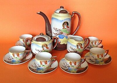 Dragon Ware 15 Piece Tea Set - Hand Painted Dragons And Starfish  - Japan