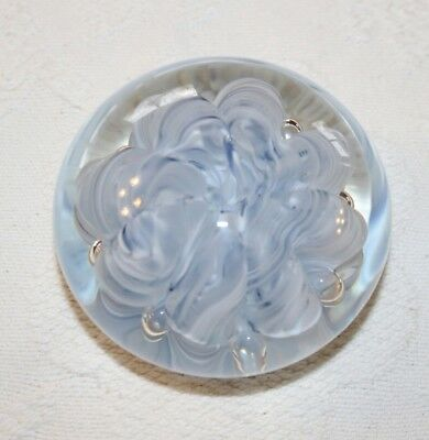 Collectible Joe Rice Art Glass Paperweight-Light Blue Candy Cane Ribbons