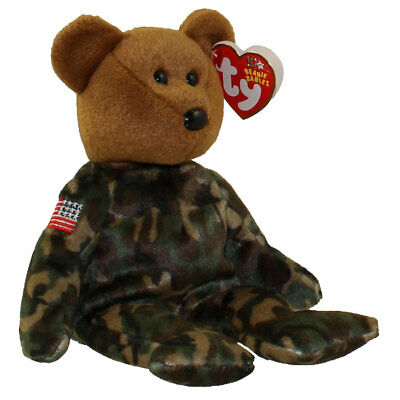 TY Beanie Baby - HERO the USO Military Bear (w/US Reversed Flag on Arm) (8.5 in)