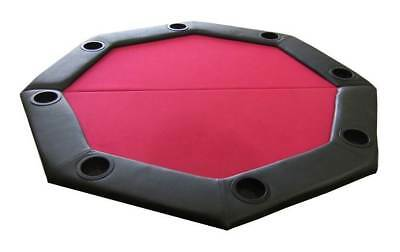 Padded Octagon Folding Poker Table Top w Cup Holders in Red [ID 59346]