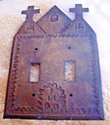 Vintage / Antique Hand Tooled Metal Mexican Christian Double Light Switch Cover