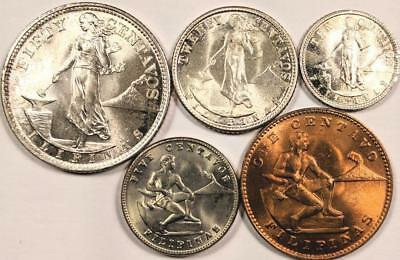 1944 1945 Philippine 5 Coin Lot 1 5 10 20 50 Centavos All Gem Bu Uncirculated
