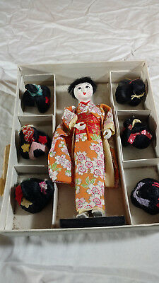 Vintage Japanese Doll with Six Hair Wigs Hanako Japan