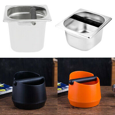 Coffee Knock Box with Handle Bucket Espresso Grinds Tamper Waste Bin 4 Types