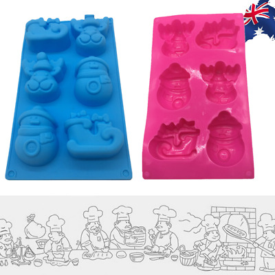 Silicone Snowman Elk Sled Mould Cookie Chocolate Mold Ice Cube Xmas HKIM93806