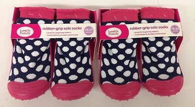 2 New Luvable Friends Rubber-Grip Sole Socks Baby/Toddler 18-24 Months Blue/Pink