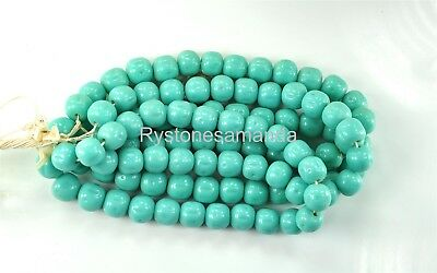 24 Vintage Japanese 14mm Green Turquoise Baroque Hand Made Glass Beads -V2822