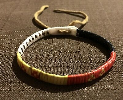 Beautiful New Native American Lakota Sioux Quilled Bracelet Quilled On Rawhide