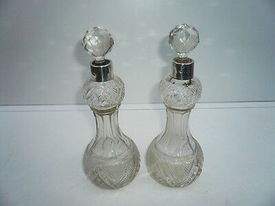 Pair Antique Silver & Cut Glass Sherry Decanters, STERLING, Hallmarked 1896