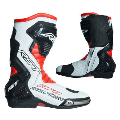 RST Pro Series Fluo Red / White / Black Motorcycle Race CE Boots | All Sizes