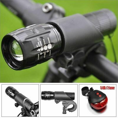 LED Bicicleta frente y cola luz Linterna Antorcha Flashlight Zoomable Lámpara