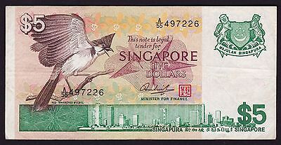 Singapore $5 banknote 1976 P-10 bird series