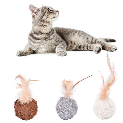 Pet cat kitten feather round plush ball mouse scratching chew toy with catnip FT