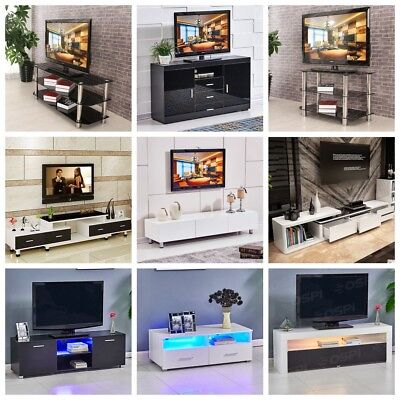 Various TV Stand White Black Wood TV Unit With Drawer High Gloss Tempered Glass