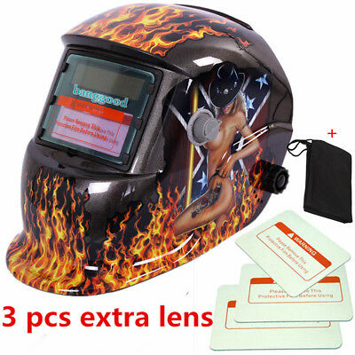 3 Lens +1 Bag+Solar Auto Darkening Welding Helmet Weld Grinding Mask Head Shield