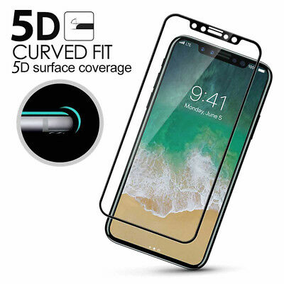 For Apple iPhone X/10 5D Curved Full Cover Tempered Glass Screen Protector