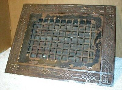 Victorian Antique Cast Iron  Heat  Vent Ornate Two Piece 14 x 18 Free Shipping